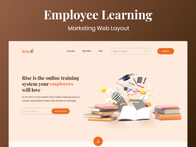Employee Learning ui design ui concept design marketing site uxdesign adobe xd interaction design 3d art website uidesign employee engagement