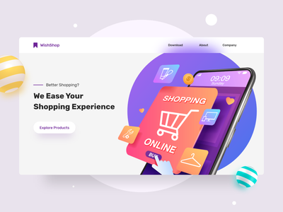 Marketing Website - Shopping App shopping shopping cart freebie illustraion uxdesign 3d art concept design ui ui design interaction design adobe xd marketing site shopping app