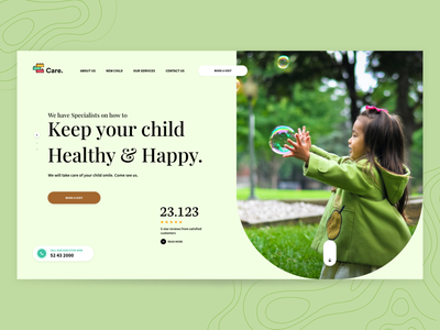 Child Care Centre new marketing site hero banner adobe xd ui design interaction design landing page design green website design children landingpage