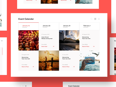 Event Calendar Section UI calendar design ui sketchapp explorer booking grid design thumbnail card calender concept design adobe xd uxdesign interaction design ui design