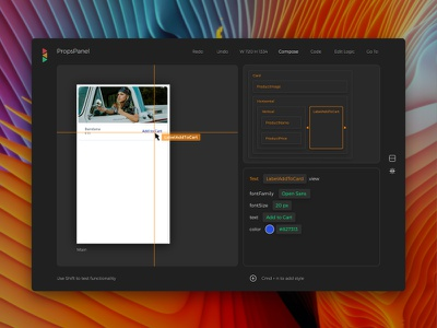 Views DX Editor with Composer views react properties editor front-end interface