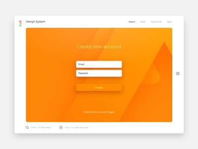 Create new account view design system react editor sign up create views dx