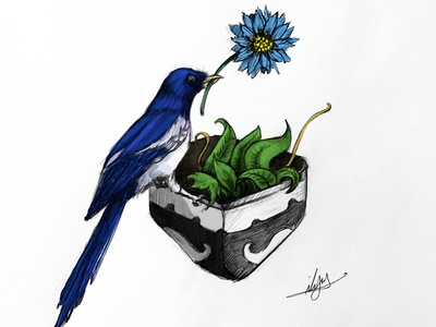 Flower and lonely Bird