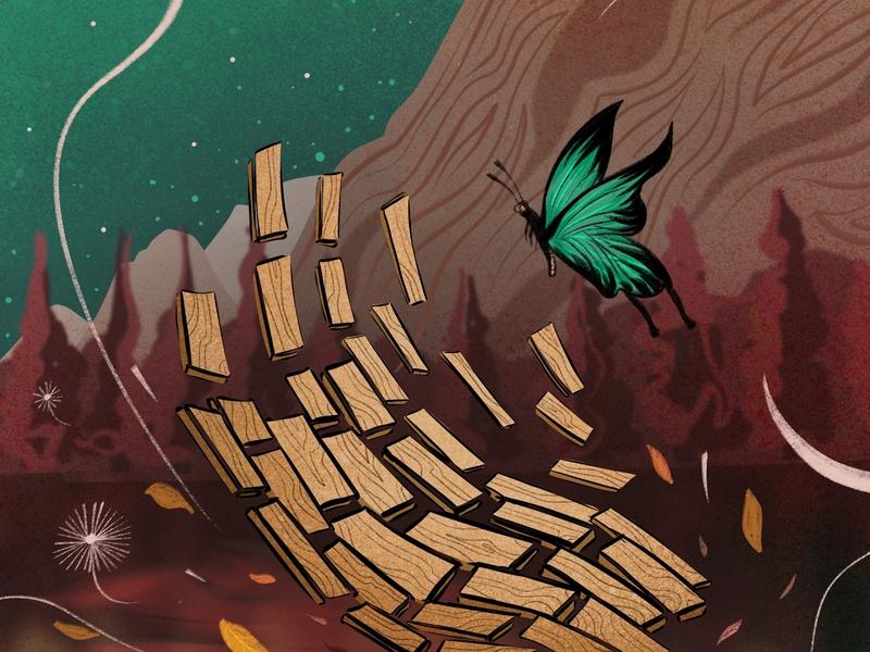 Wood Hande poster wingsbranding illustration