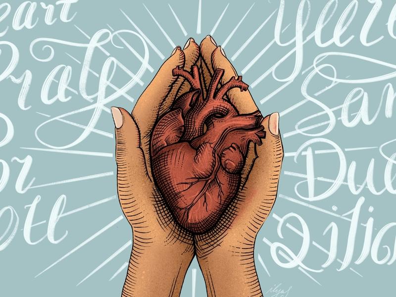 The heart pray for you ilyas uighur uyghur love heart pray illustration