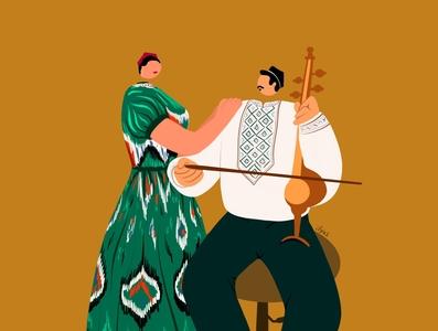 Uyghur Musician kaniway badam doppa ghijek ilyas uighur uyghur illustration