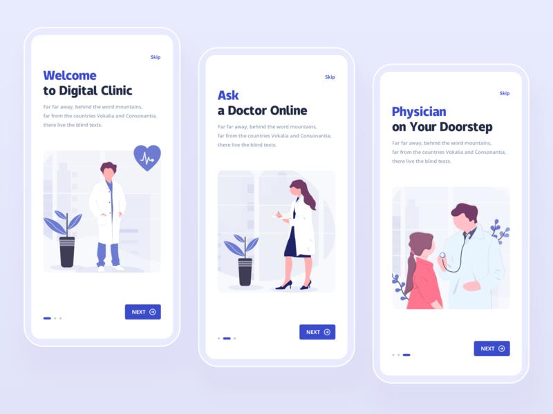 Medical applications 用户体验 用户界面 产品设计 移动端 引导页 医疗保健 健康 医疗 设计 应用程序