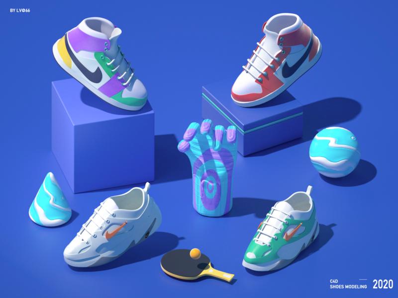 C4D shoes octane render illustrations  wallpaper octane 3d shuoes c4d design