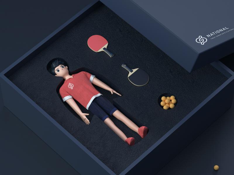 IP image packaging pingpong persona octane 3d art 3d branding illustrations c4d illustrations  wallpaper design