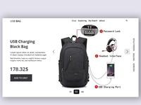USB Charging Black Bag header section