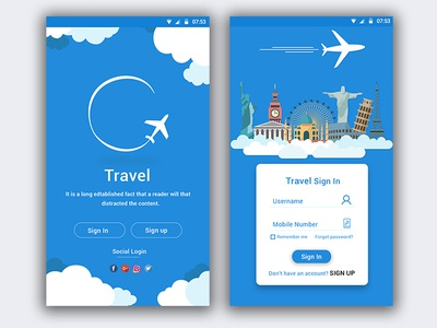 Travel App Sign in page.
