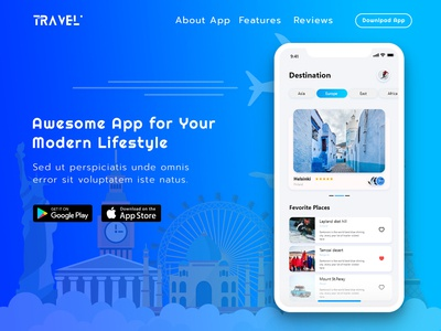 Travel App Landing Page Template Design