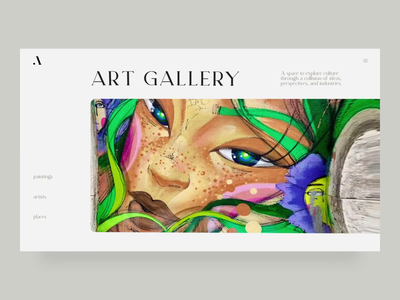 Art gallery concept design ui typogaphy creative web animation nft art concept slider gallery