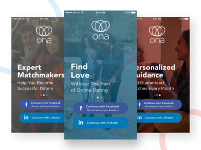 Welcome screens for dating app