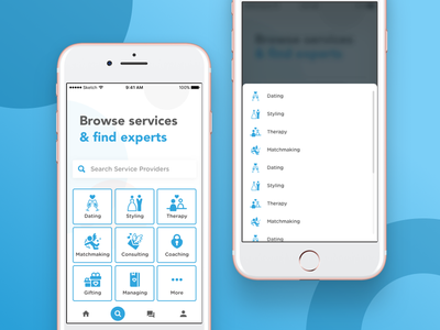 Services screen grid explore search typography minimal iphone connect ux service feed dating matchmaker