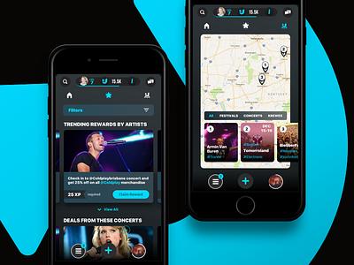 Rewards & Map - JooxIt concert artist ux ui iphone ios festival event points reward map music