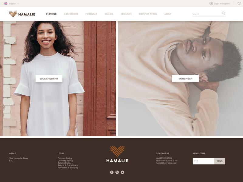 Hamalie Shop Clothing website concept landing page shop design web design website design