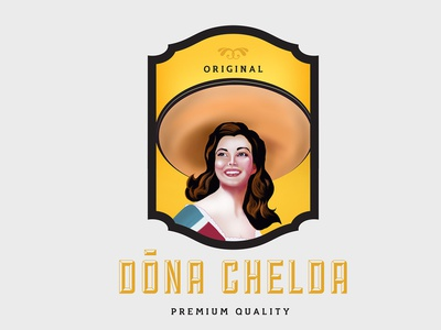 Dona Chelada - Mexican wine label design print wine bottle brand digital painting label design branding vector logo illustration design