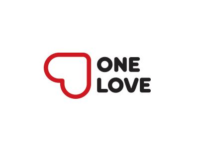 One Love logo one amur valentine heart love