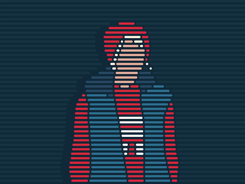 senya stripeart stripe portrait girl lineart illustration