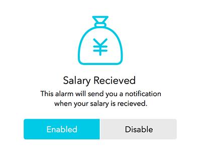 Custom notification icon money yen bag blue
