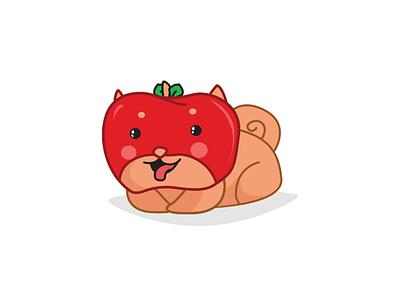 Ringoken Line Stamp sticker red line dog apple