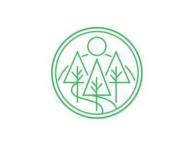 Mirai no mori 森 logo concept badge circle tree green outdoors