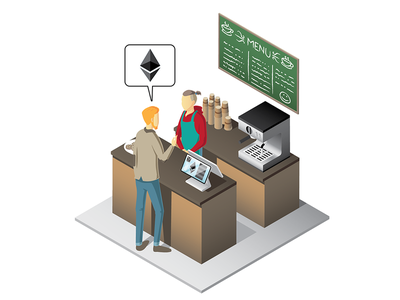 Isometric coffee shop crypto currency vector design illustration isometric