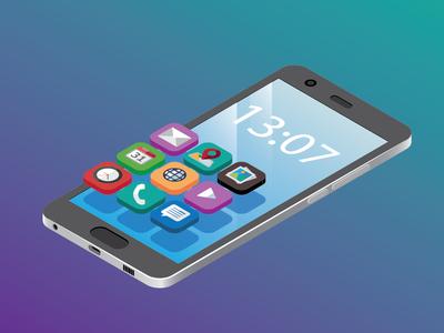 Isometric Phone illustrator vector modern illustration design isometric phone