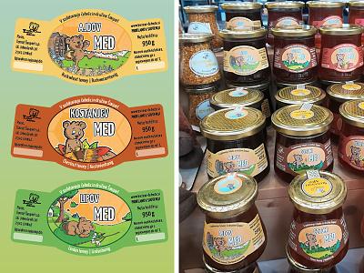 Honey labels variety cute bear illustration design print labels honney