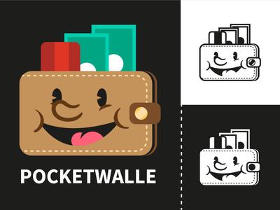 Pocketwalle designer application vector app icon design money app branding illustration logo design