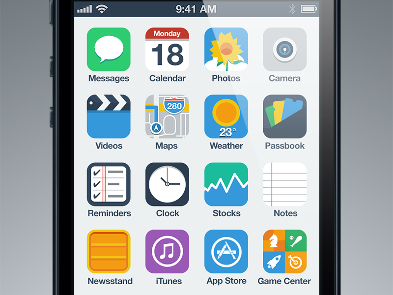 iPhone Flat UI Concept ui ux flat clean simple light ios iphone icon interface concept ios7