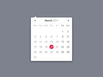 Calendar picker calendar datepicker march clean web ui open sans month date
