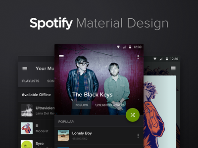Spotify Material Design player spotify material design android concept dark sketchapp lollipop music app redesign freebie