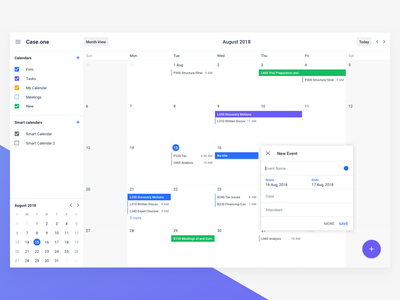 Case.one Calendar tasks case legal case.one calendar ui web calendar