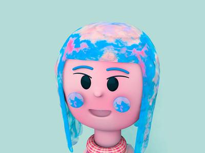 Character lightblue turquesa celeste blue personaje girl character girl design illustration web texture abstact octane cinema 4d c4d 3dmodel 3d