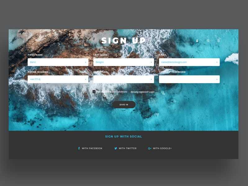 Daily UI Challenge: 001 - Sign Up blue and white oceanic user interface website prototyping prototype web ui design signup screen signup page signupform 001 dailyui 001 dailyui webdesigner webdesign