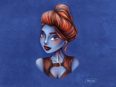 Redhead blue girl   Procreate art   Female character design