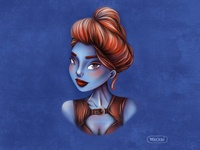 Redhead blue girl | Procreate art | Female character design