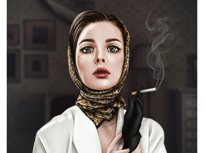 Vintage Girl   Procreate art   Female character portrait