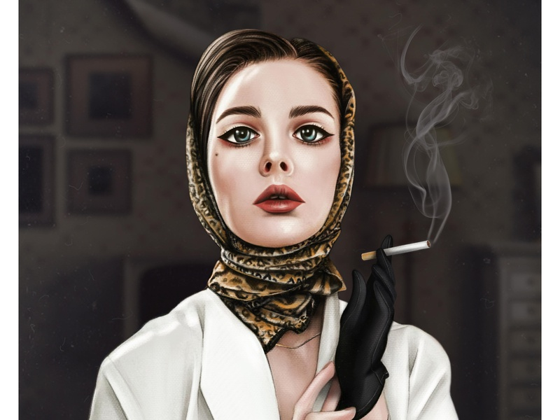 Vintage Girl | Procreate art | Female character portrait wacom portrait illustration portrait woman retrowave retro vintage retro style girl cigarette procreate art ipad pro art illustration digital illustration digital art character design character artwork wacabi art