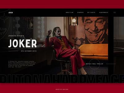 JOKER Movie | First screen concept user interface dc comics top shots minimalistic animation web design ux movie dark joker imdb film concept batman ui wacabi design daily ui
