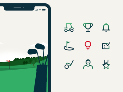 Golf app icons product design illustration digital branding design app golf icons set icon icons