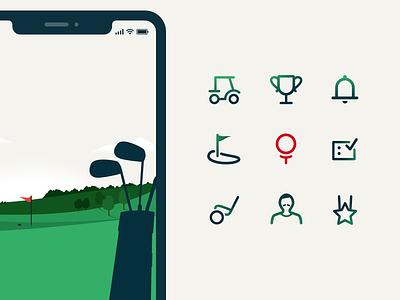 Golf app icons product design illustration digital branding design app golf icons set icon icons