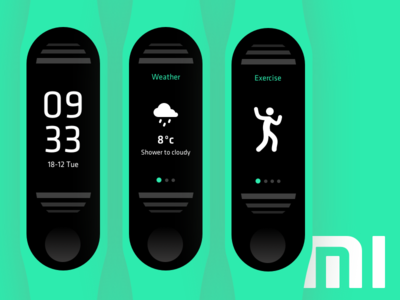 Xiaomi Mi band 3 concept xiaomi mi band mi fit mi activity tracker design typography ui product design user interface digital branding concept