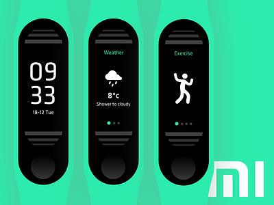 Xiaomi Mi band 3 concept xiaomi mi band mi fit mi activity tracker design typography ui product design user interface digital branding concept