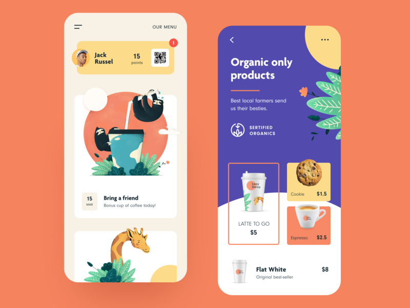 Lazy Daisy Coffeeshop App ui ios coffee shop application cafe application reviews emotional illustration coffee shop app application app design entrepreneur startup business halo lab halo colourful design mobile