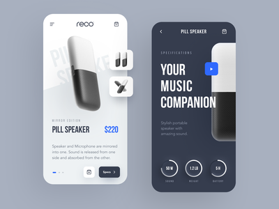 Reco Gadget Store Mobile portable speaker speaker music app application app design entrepreneur startup business halo lab halo colourful design mobile
