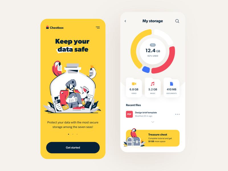Chestbox App art storage service illustration app application app design entrepreneur startup business halo lab halo colourful design mobile