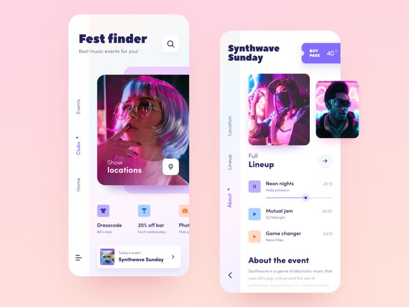Fest Finder application entertainment festival service festival startup halo lab halo colourful design ux ui interface